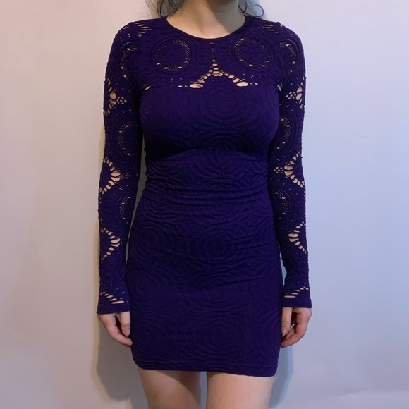 Dresses & Skirts - Dark Purple Bodycon Long Sleeve Spandex Dress